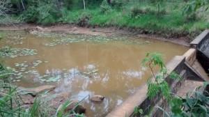 Barragem de espera Feliz com água quase ao nível da lama.