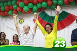 Carlinhos Cabral e sua vice, Mariana, no lançamento oficial da candidatura.